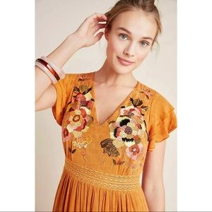 New Anthropologie Embroidered Tiered Maxi Dress